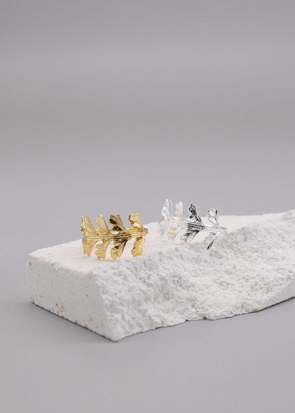 長生鐵角蕨 18K鍍金戒指-5